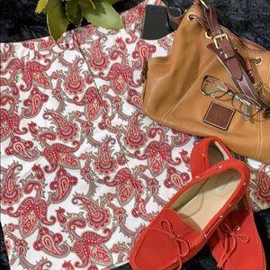 Charter Club Paisley Red & White Skirt 12